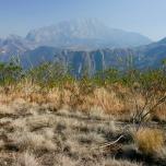 Chembe Basin im Hintergrund, Mulanje Massiv, Malawi